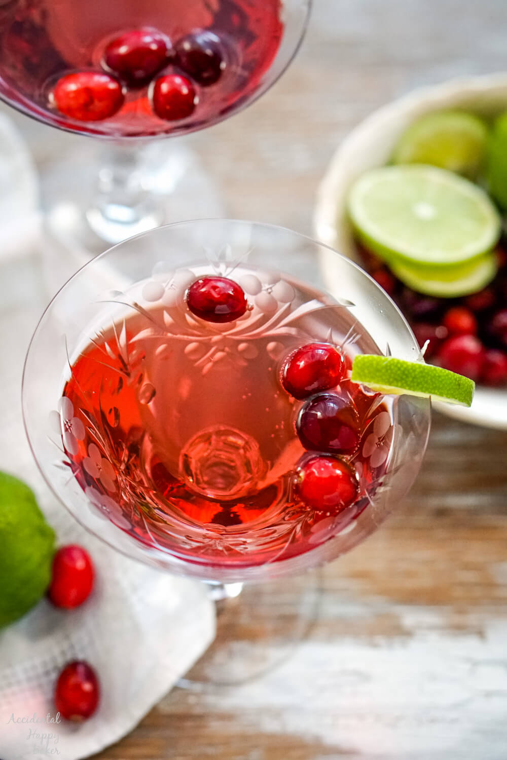 A close up image that shows the glass of punch.