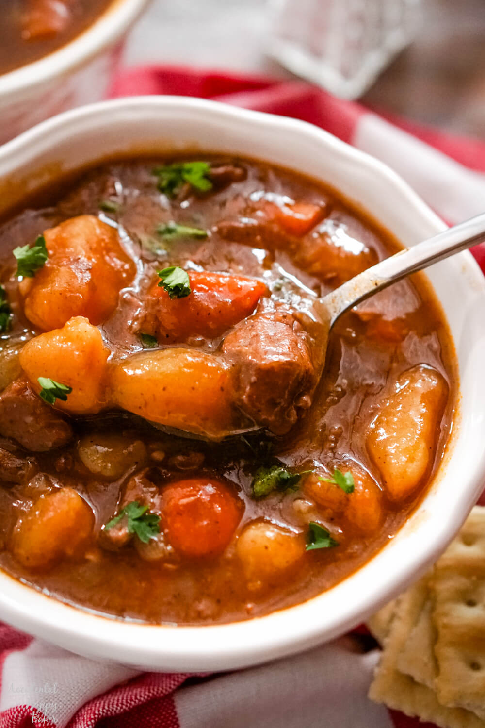 A close up image of a white soup bowl full of instant pot beef stew on a red checkered towel.