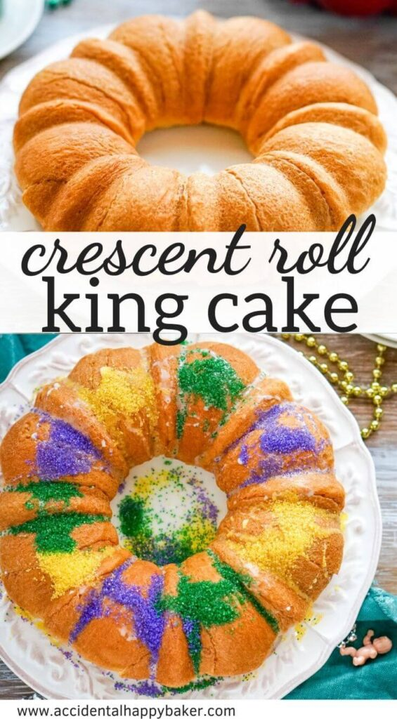 This time saving Crescent Roll King Cake recipe relies on crescent rolls to keep it simple and quick. It has a rich and creamy cinnamon filling that is reminiscent of the inside of a cinnamon roll. It's baked in a bundt pan, so you don't have to worry about how the crescent rolls are folded because it will have a pretty and uniform shape.