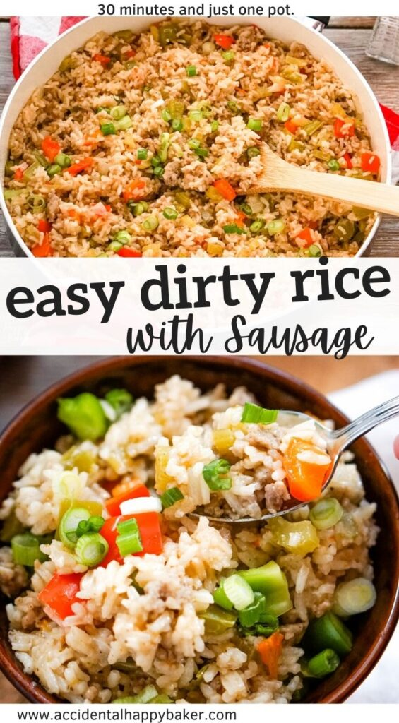 This easy dirty rice with sausage recipe makes a quick and flavorful dish that is full of sausage, rice, and veggies cooking in Cajun spices! It's easy on the budget, easy to customize with what you have on hand,and works well as a side dish or as a main dish your family will love.