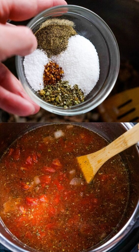 Next, the seasonings, tomato paste, tomatoes and broth are added to the instant pot.