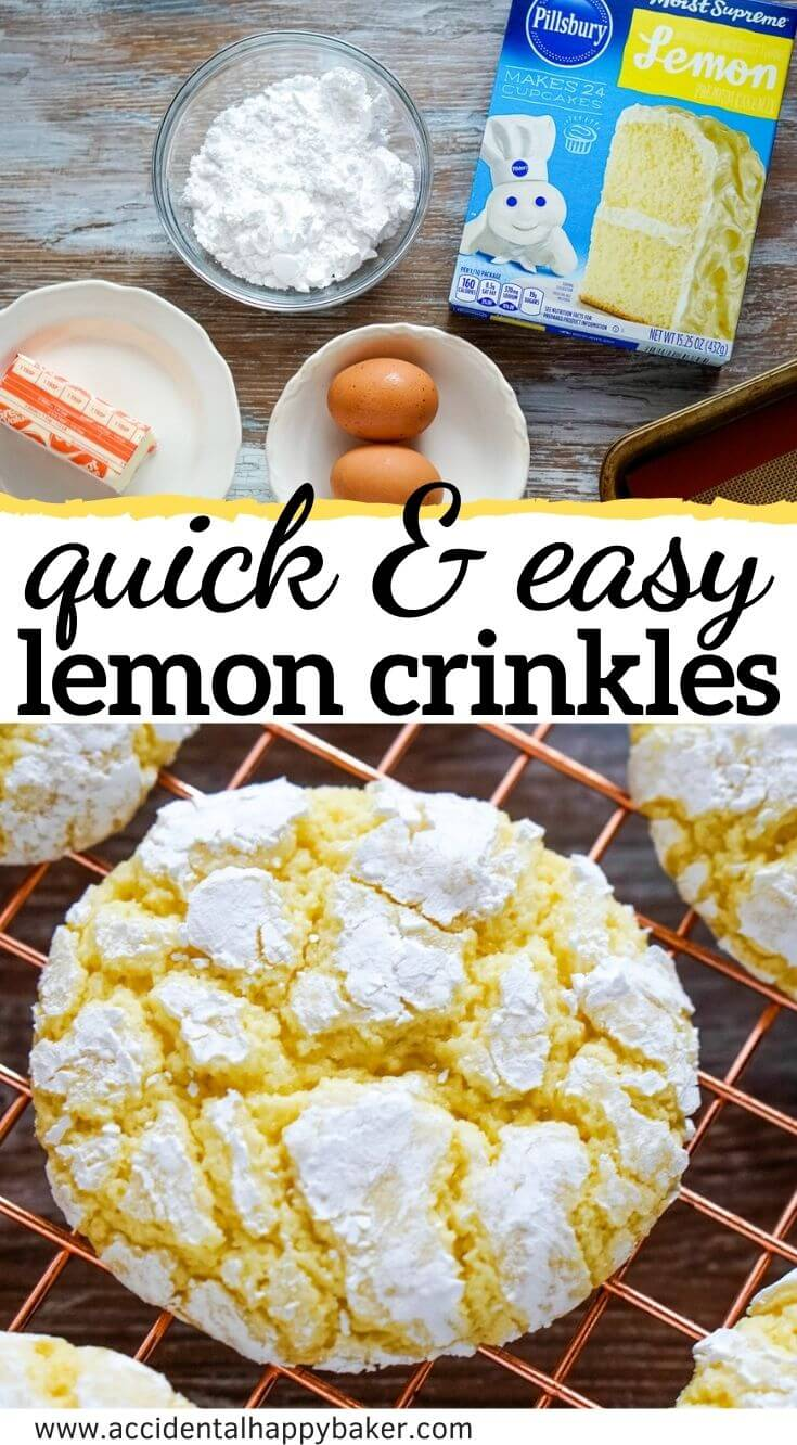 3 steps. 4 ingredients. Super quick and easy soft, melt in your mouth, buttery lemon crinkle cookies.