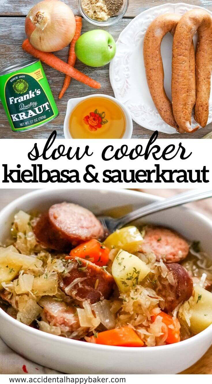 Kielbasa and sauerkraut are slow simmered with veggies, brown sugar, caraway and apple juice for a deliciously easy and comforting meal in the slow cooker.