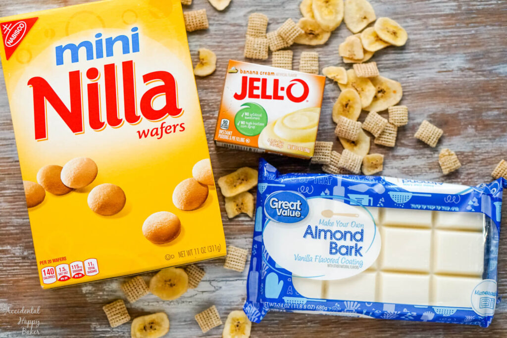 The ingredients you'll need to make this are mini nilla wafer cookies, rice chex cereal, banana chips, almond bark candy, and instant banana pudding mix.
