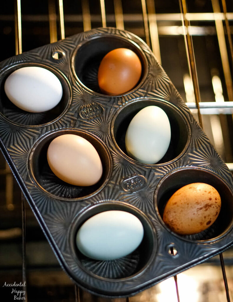 Colorful farm eggs in a muffin tin on an oven rack.