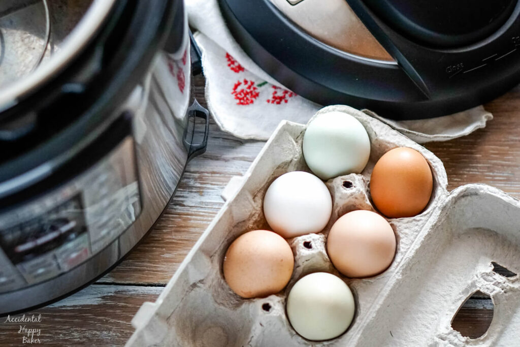 A carton of colorful farm eggs next to an instant pot.