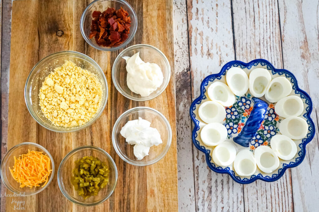 All the ingredients needed to make the jalapeno popper deviled eggs.