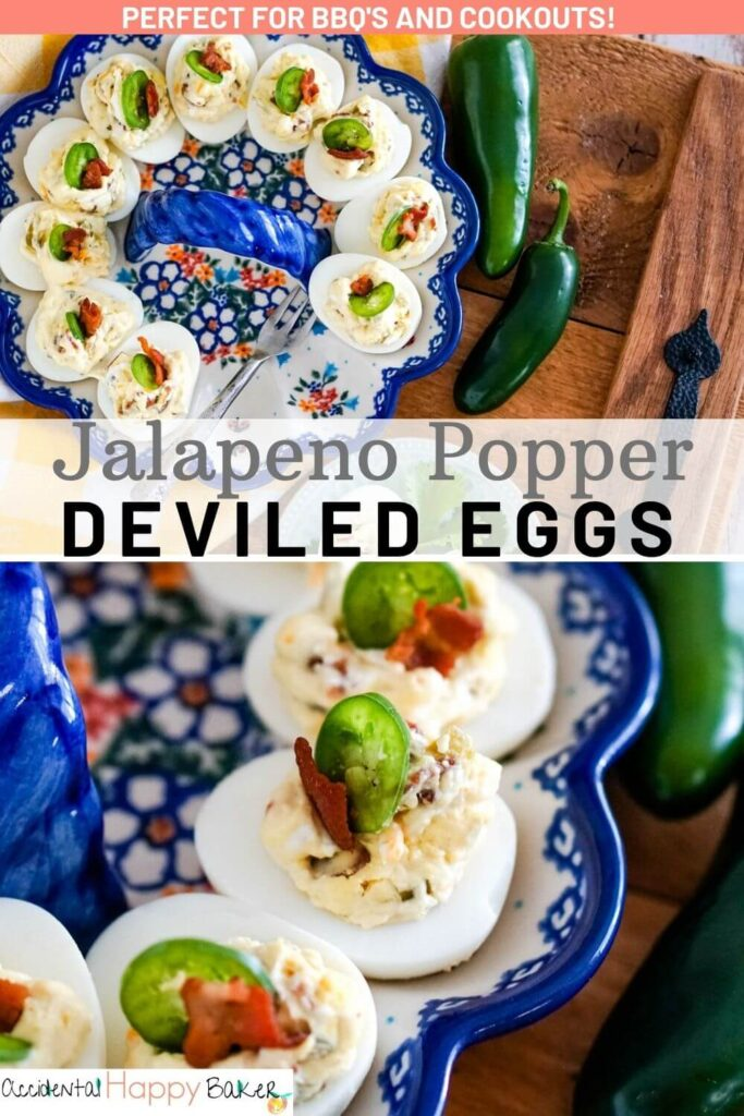 Deviled eggs with a slice of jalapeno and bacon on them.