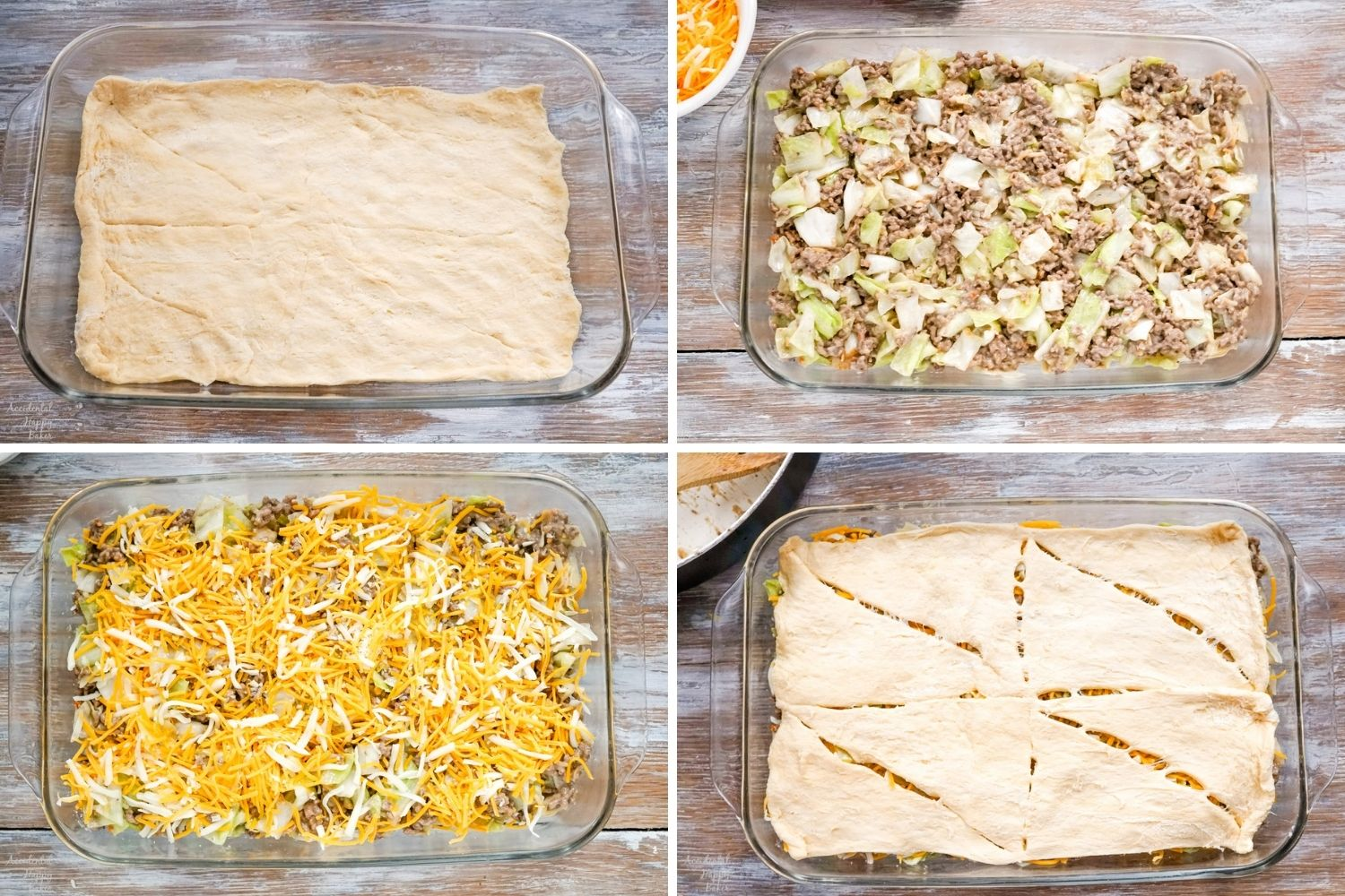 A collage image showing the steps to assemble the casserole.
