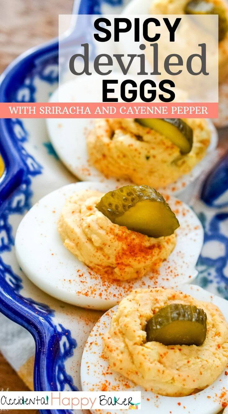 Spicy deviled eggs have a kick of sriracha, a pinch of cayenne, a little mustard and relish for a deviled egg combo that brings the heat.