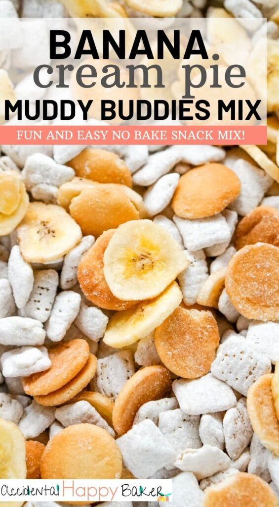 Banana cream pie muddy buddies makes a quick, fun and easy snack with the flavors of traditional banana cream pie.