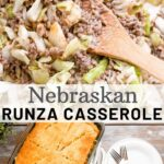 Runza casserole has a hearty and flavorful filling of ground beef and cabbage topped with shredded cheese and sandwiched between layers of crescent rolls. It's simple, delicious, filling and budget friendly!